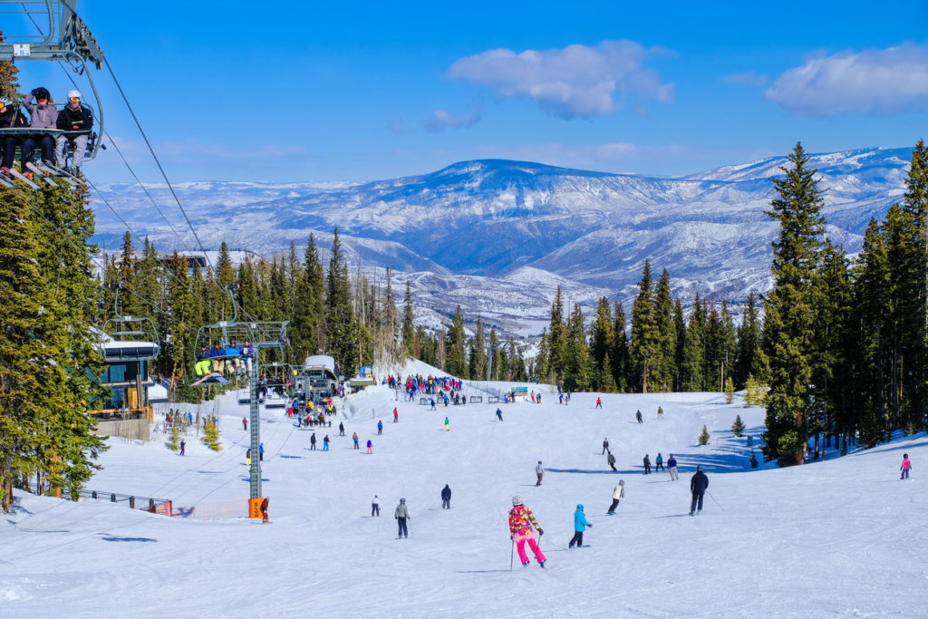 Aspen Snowmass ski resort on clear winter day