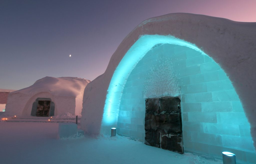 Icehotel Entrance with Ice Church