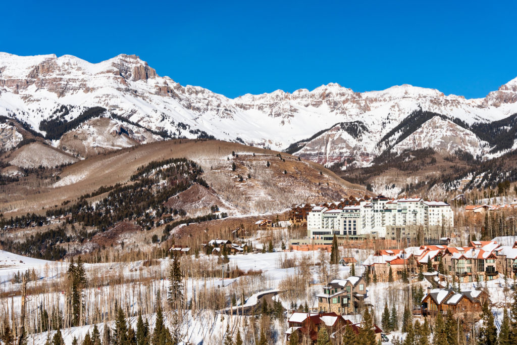 Scenic view of the San Juan Mountains and Mountain Village in Telluride, Colorado