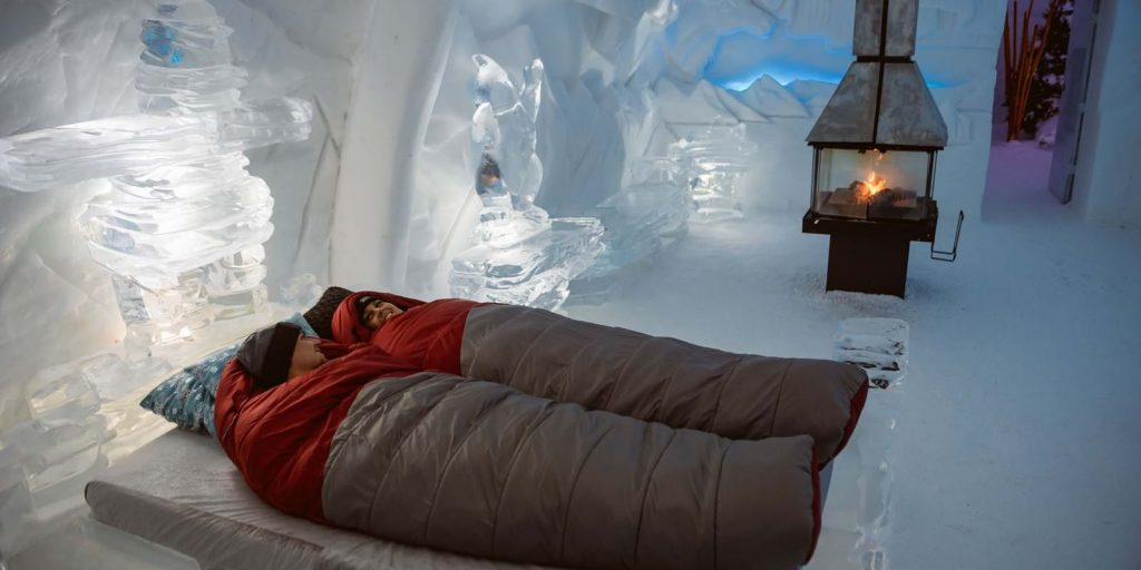 Sleeping in Hôtel de Glace, Canada