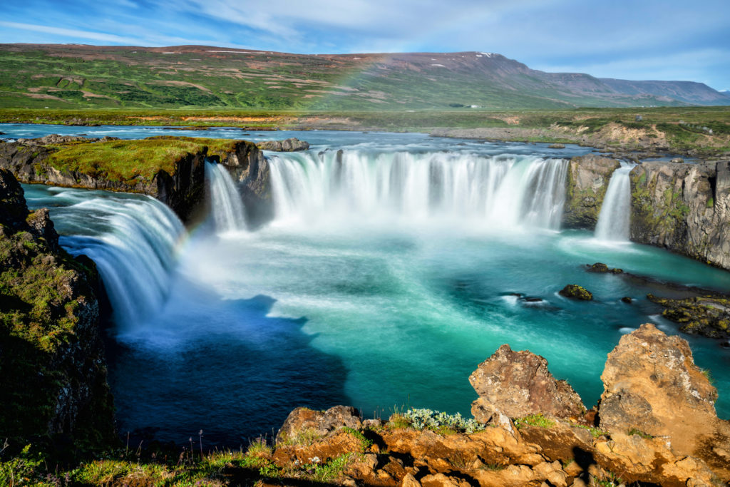 The Godafoss is a famous waterfall in Iceland