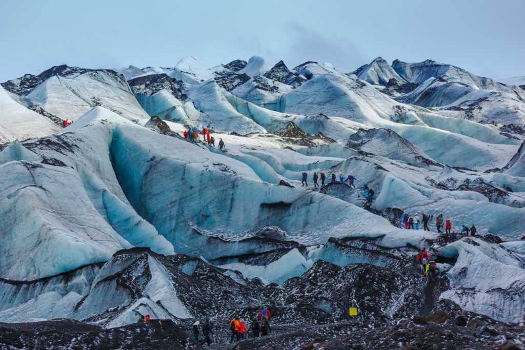 Walking on glacier at Solheimajokull