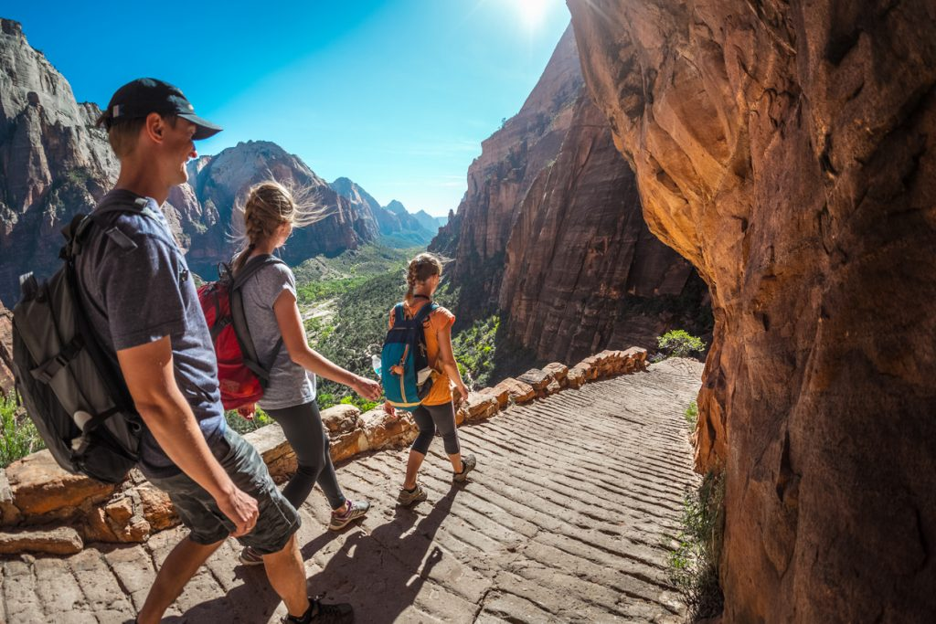Walking down the stairs and enjoying view of Zion National Park