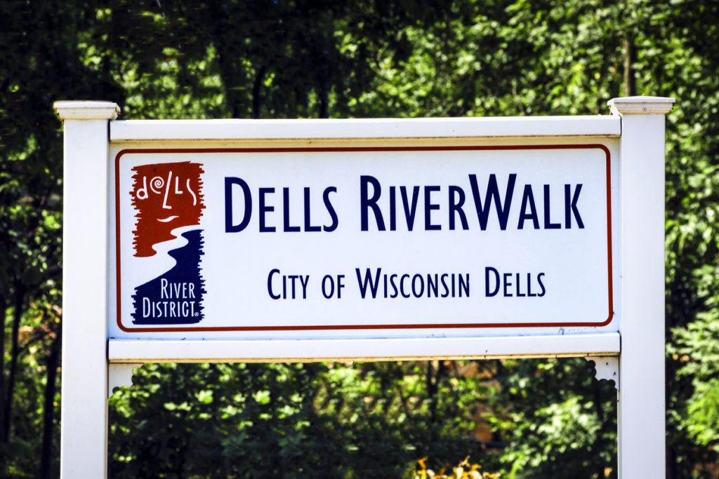 Riverwalk sign in the city of Dells in Wisconsin