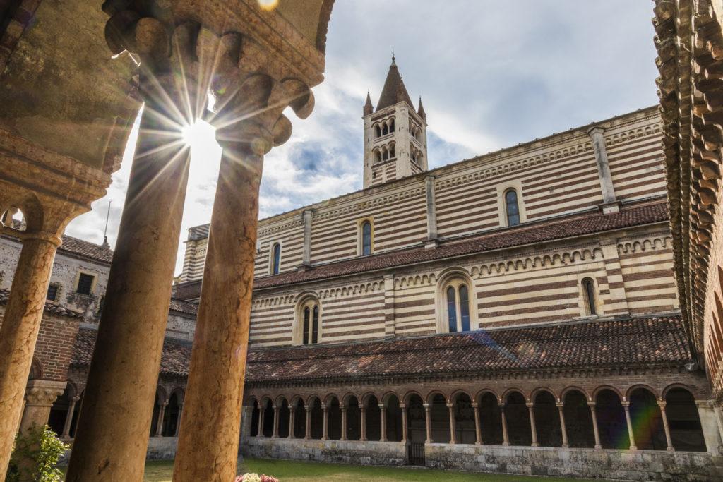 The cloister of the Basilica di San Zeno Maggiore in Verona
