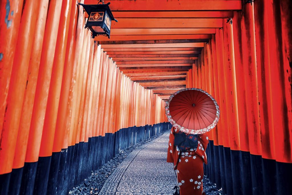 Traditional dress in Fushimi Inari Taisha shrine in Kyoto