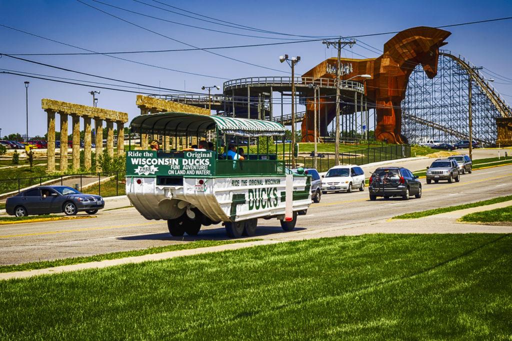 Wisconsin Ducks tour vehicle in the Dells resort