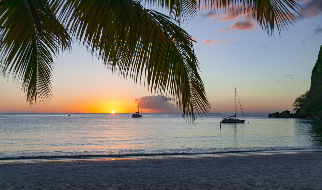 Yachts anchoring off St.Lucia
