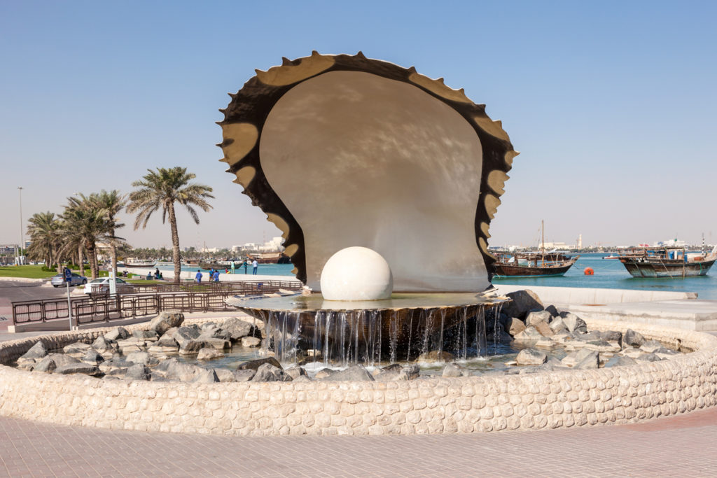 Pearl fountain in Doha, Qatar