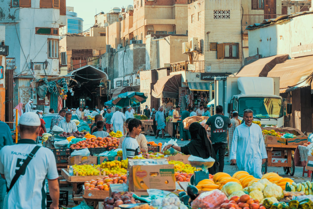 Souk Baab Makkah (Bab Makkah) street market at the historic district Al Balad in Jeddah