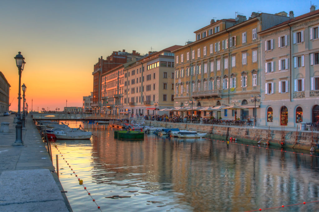 View of the Canal Grande at sunset in Trieste