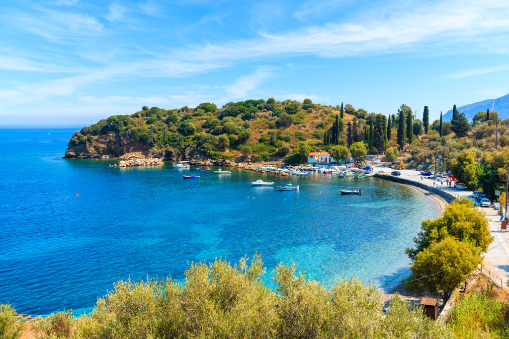 Beautiful bay with fishing port on Samos island