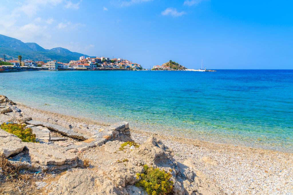 Beautiful beach in Kokkari town, Samos island