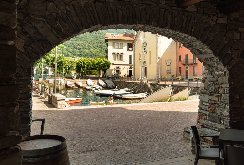 Central square of ancient village Torno overlooking Lake Como