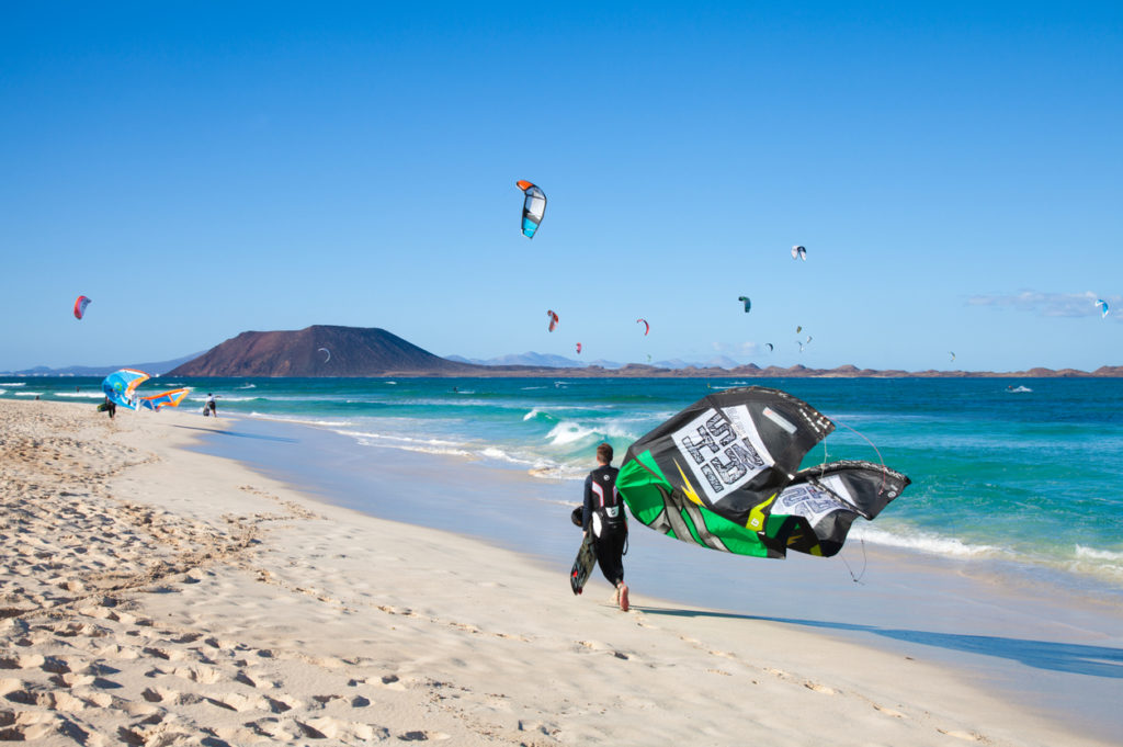 Kitesurfing at Flag Beach, Fuerteventura