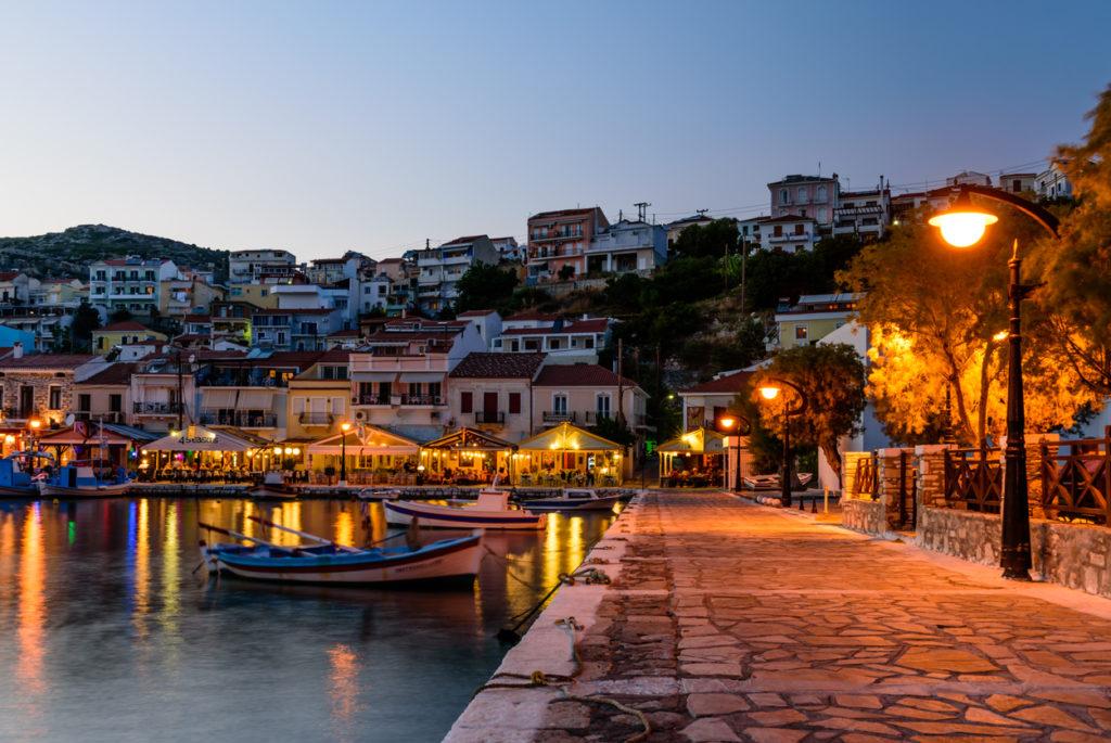 Night view of Pythagorio village