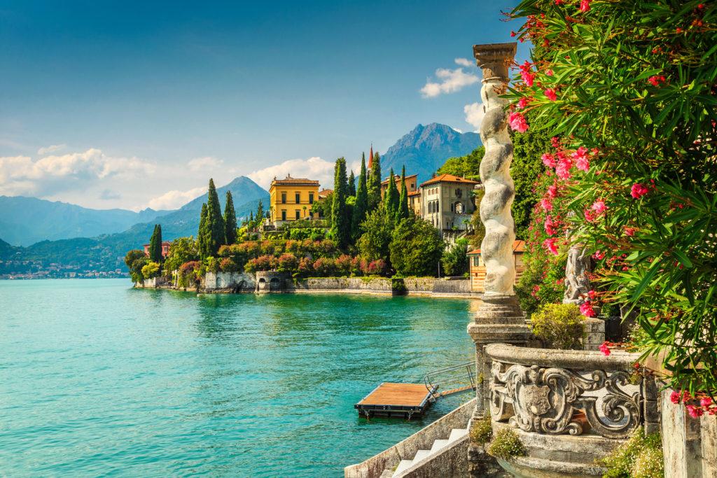 Oleander flowers and villa Monastero in background, lake Como