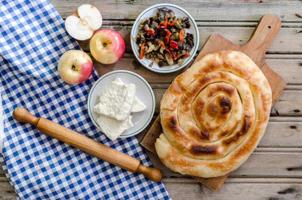 Burek with mixed fruit and cheese