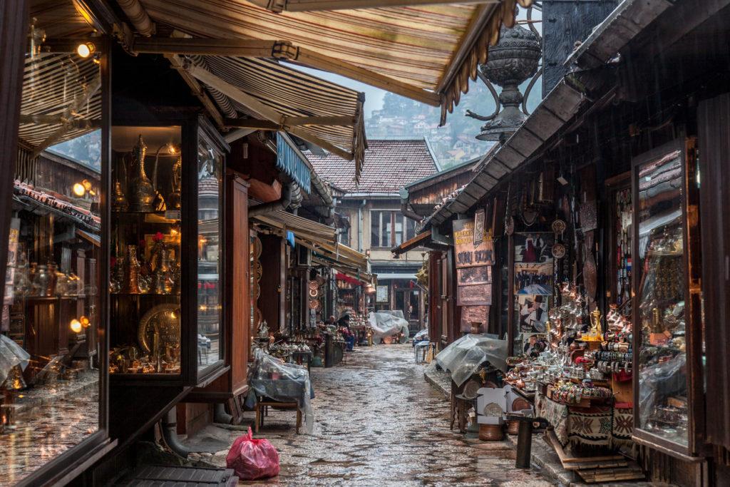 Narrow street of the Bascarsija district of Sarajevo