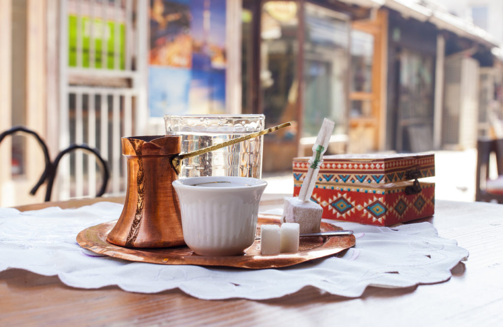 Traditional bosnian coffee served with traditional delights in a coffee house