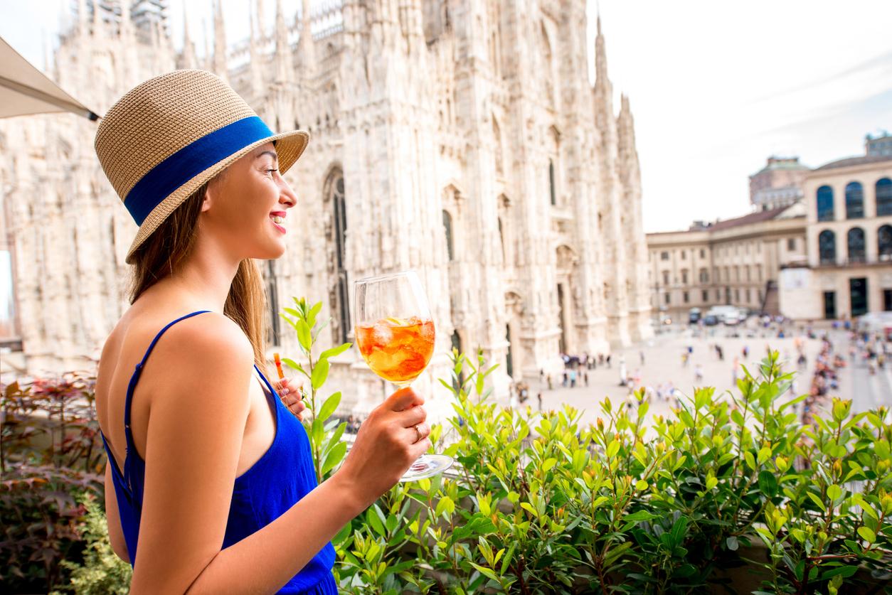 Enjoying a drink in Milan