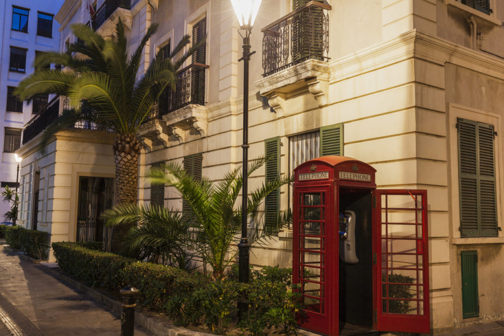 Gibraltar City Hall and red phone booth