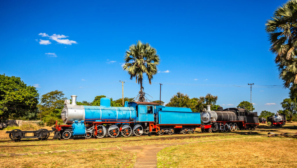 Old retro preserved locomotive trains standing on the railroad in Livingstone, Zambia