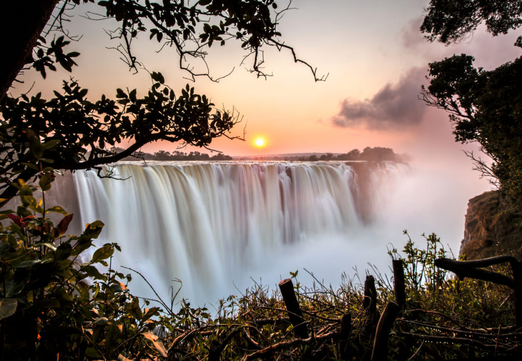 Sunrise at Victoria Falls in Zambia