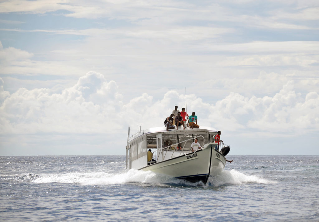 Catching a Boat Taxi to the next surf spot in the Maldives