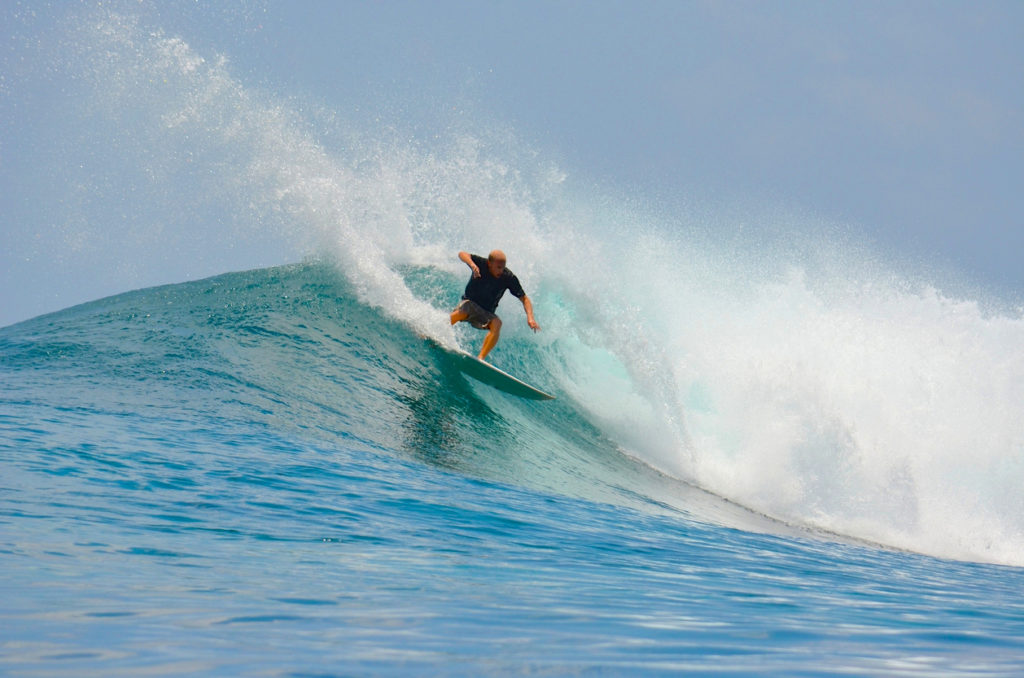 Cut Back Move while Surfing the Maldives