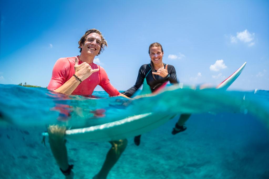 Happy surfers in the Maldives