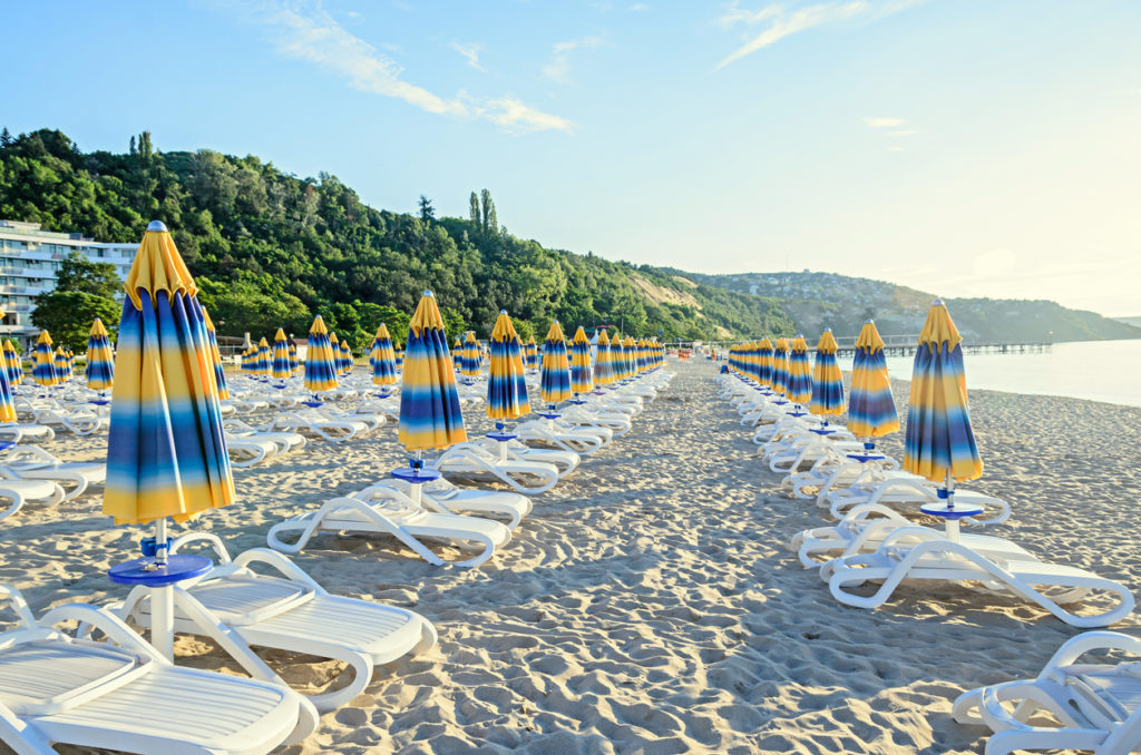 Stripped umbrellas at the beach in Bulgaria