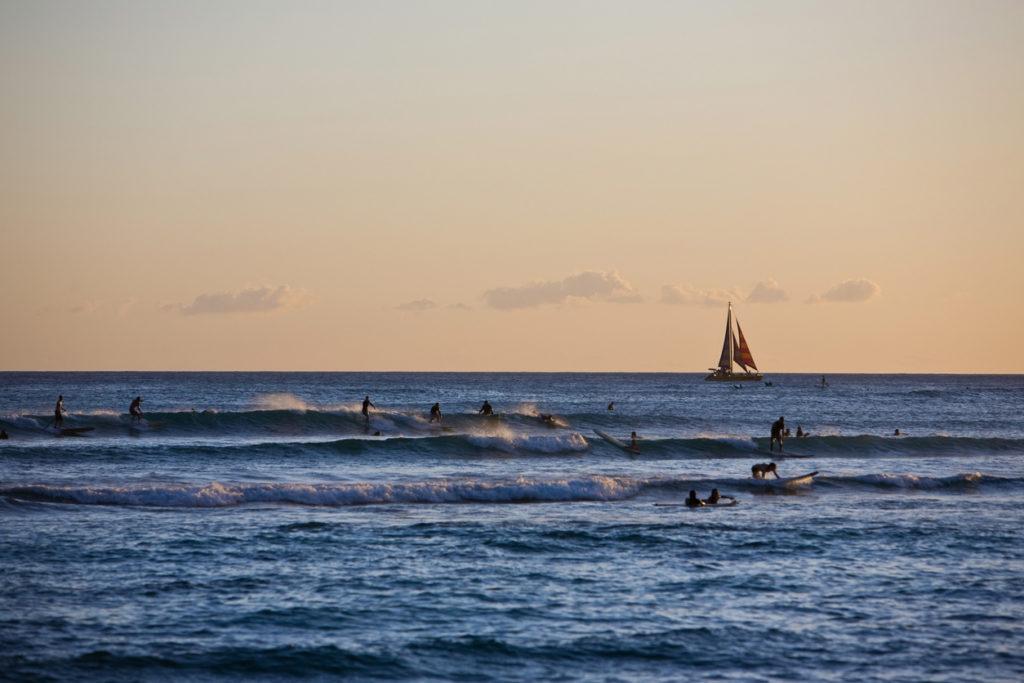 Sunset Surfing in Waikiki