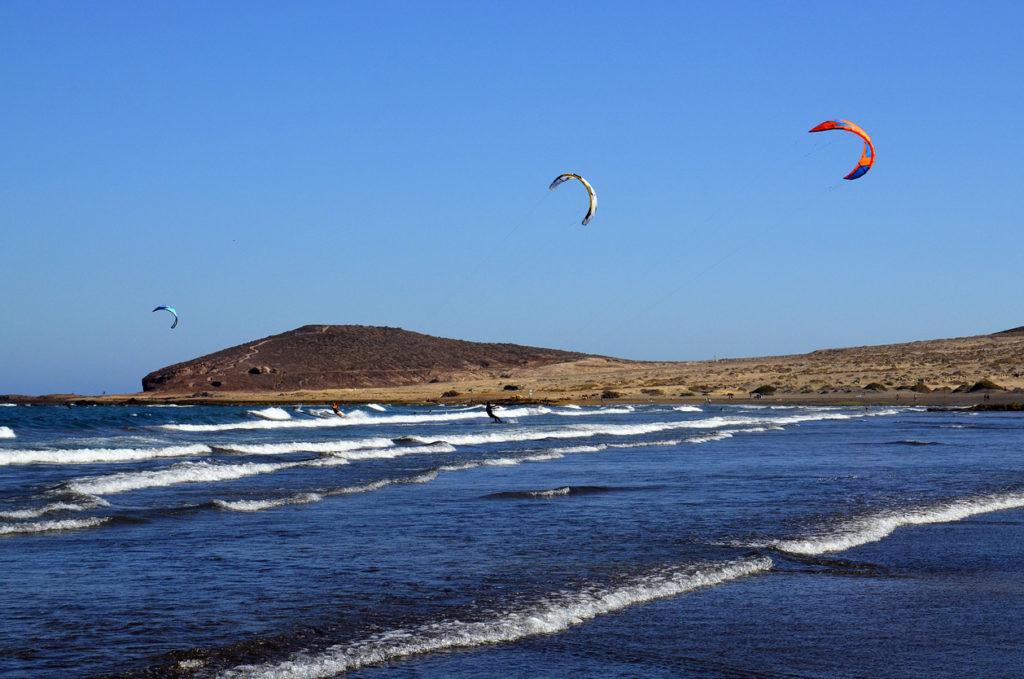 El Medano kitesurfing beach in south coast of Tenerife