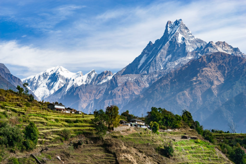 Machhapuchhre and Terraced Fields, Nepal