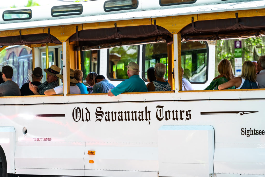 Old town tour tram tour bus in summer