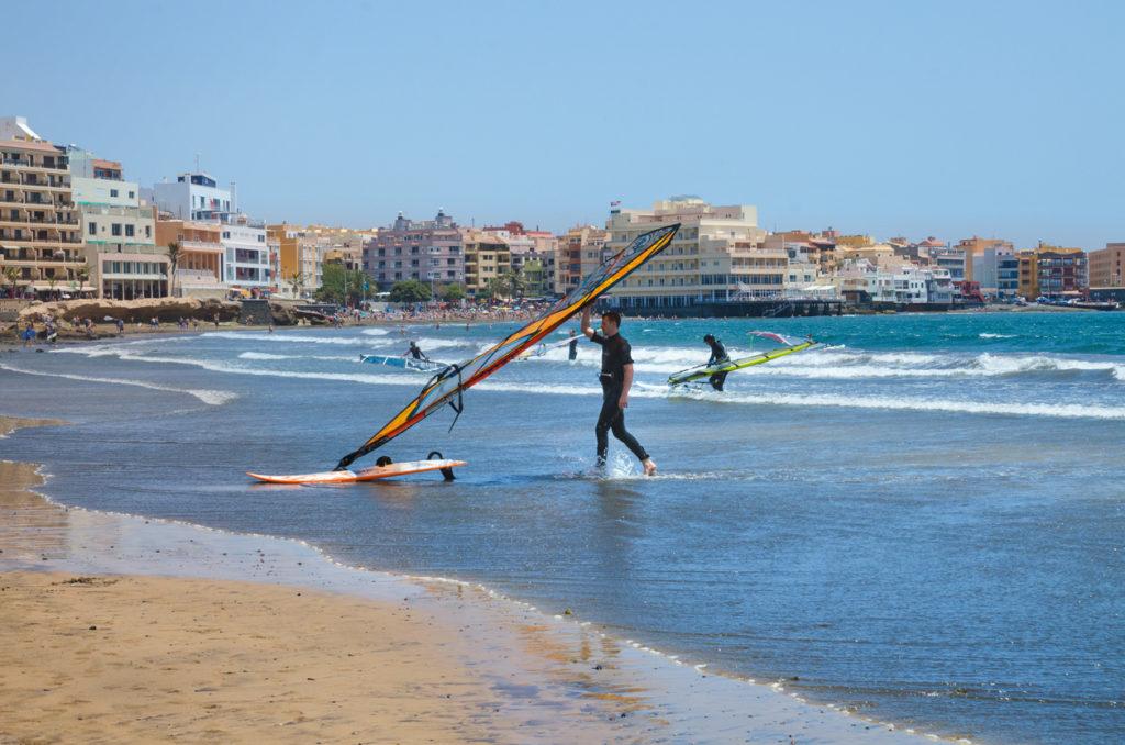 Windsurfing at El Medano beach, Tenerife
