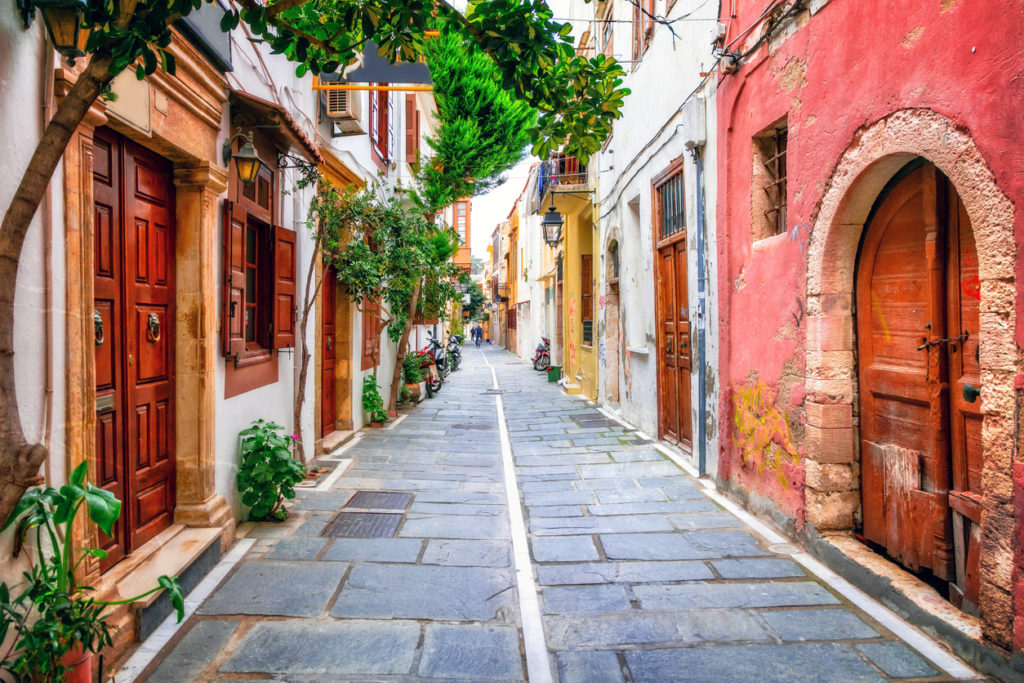 Charming streets of old town in Rethymno