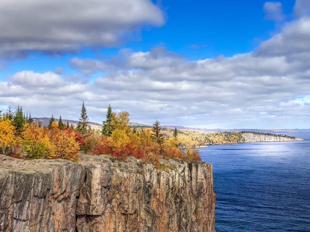 Clouds and Blue Sky over Palisade Head in Northern Minnesota in Fall