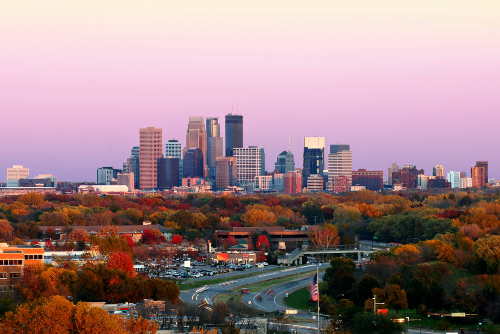 Minneapolis Skyline during Fall at Sunset from Plymouth, Minnesota