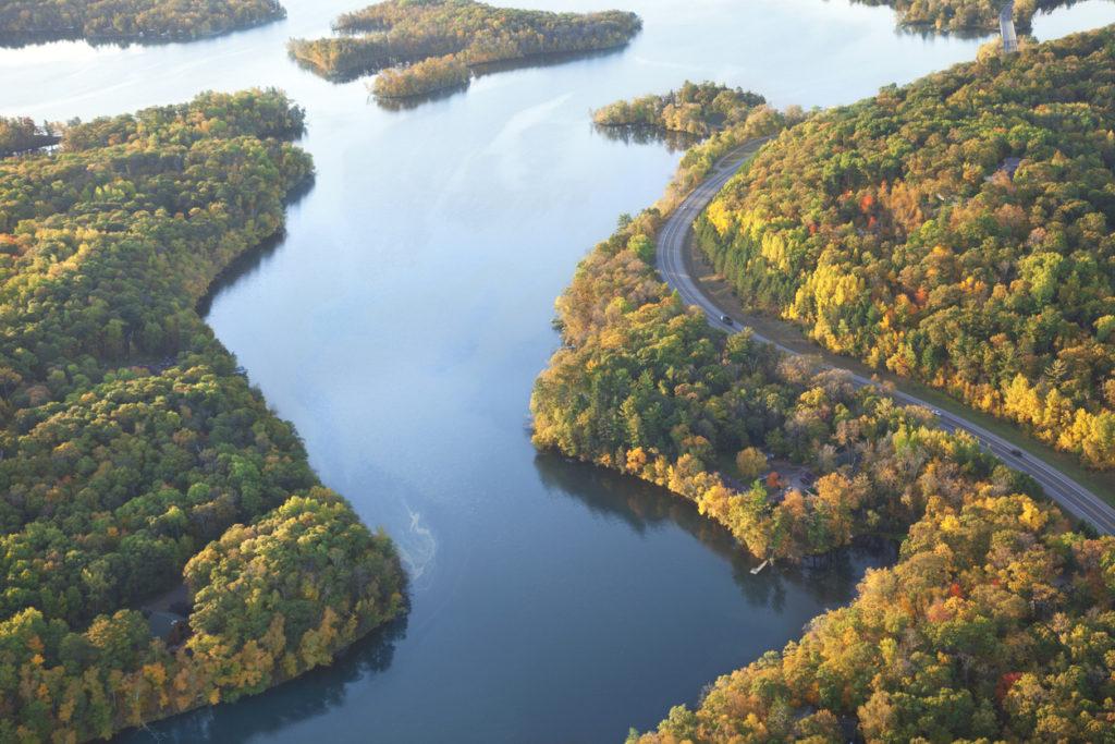 Mississippi River near Brainerd, Minnesota in the fall