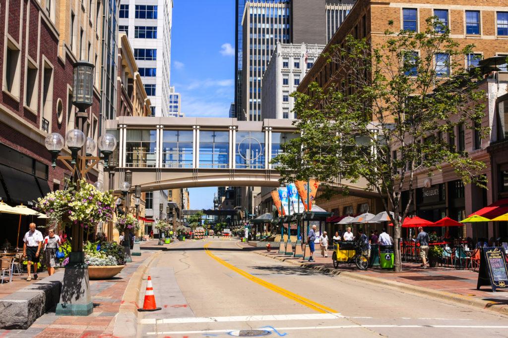 Nicollet Mall street in downtown Minneapolis