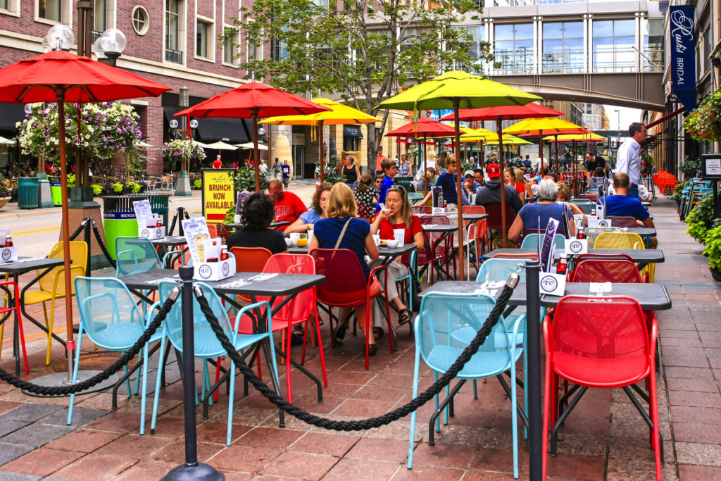 People dining outside in Minneapolis