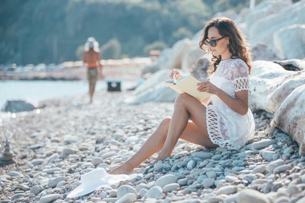 Sitting on the pebbles beach