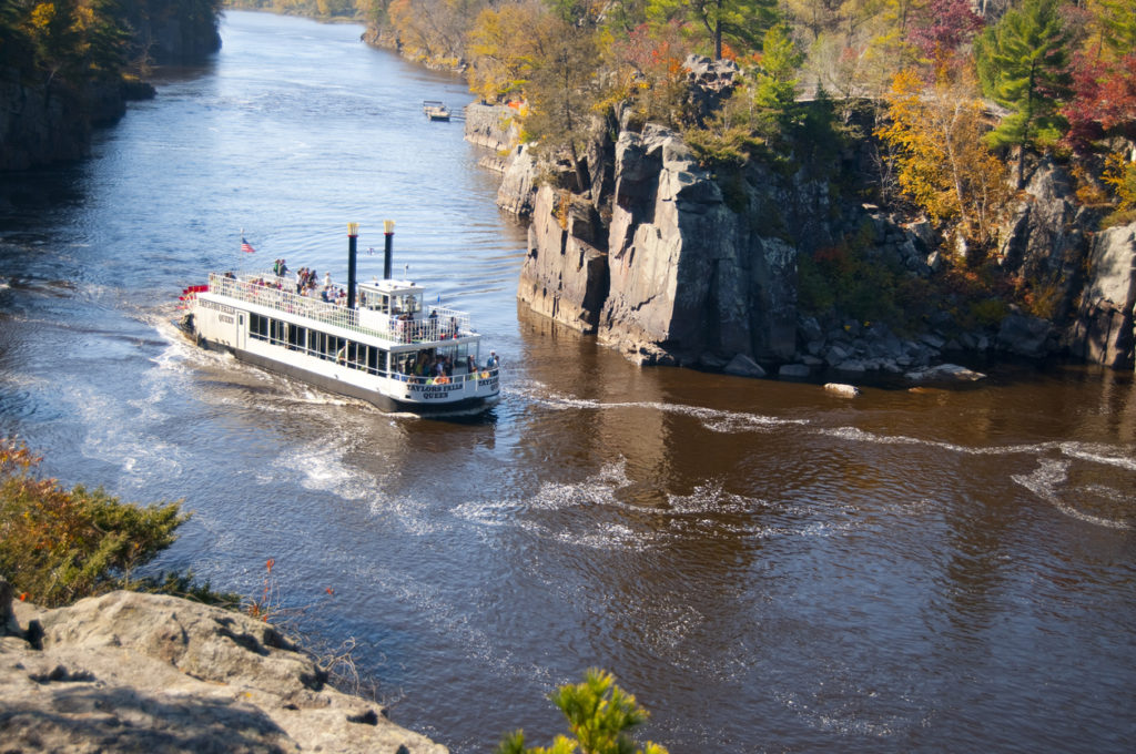 The Taylors Falls Queen travels down the St. Croix River in Minnesota